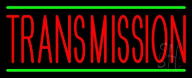 Red Transmission With Green Line Neon Sign