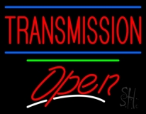 Red Transmission Open Green Line Neon Sign