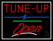 Tune Up Open Green Line Neon Sign