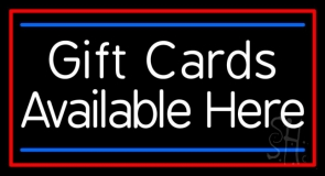 White Gift Cards Available Here Blue Line LED Neon Sign