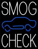 White Smog Check Car Logo Neon Sign