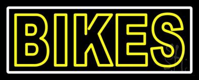 Yellow Double Stroke Bikes Neon Sign