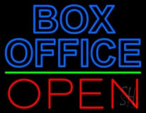 Blue Box Office Open Neon Sign