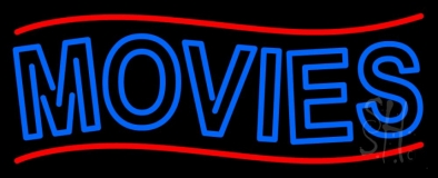 Blue Double Stroke Movies Block Neon Sign