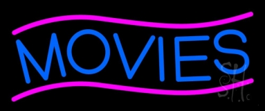 Blue Movies Neon Sign