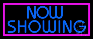 Blue Now Showing Neon Sign