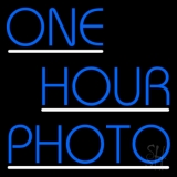 Blue One Hour Photo With Line Neon Sign