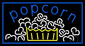 Blue Popcorn With Border Neon Sign