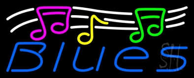 Blues With Musical Note 1 Neon Sign