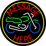 Custom Motorcycle Yellow Circle 1 Neon Sign