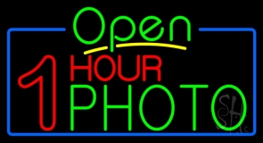 One Hour Photo Open Neon Sign