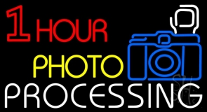 One Hour Photo Processing With Logo Neon Sign