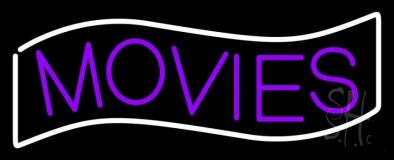 Purple Movies White Border Neon Sign