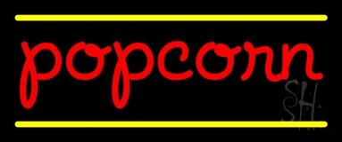 Red Cursive Popcorn Neon Sign
