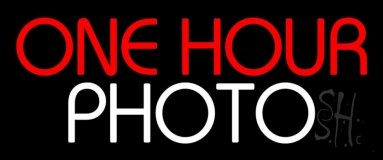Red One Hour Photo Block Neon Sign
