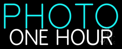 Turquoise Photo One Hour Neon Sign