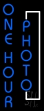 Vertical Blue One Hour Photo Block Neon Sign
