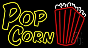 Yellow Popcorn With Logo Neon Sign