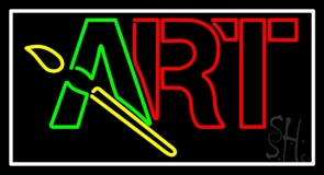 Block Art With Brush Logo 3 Neon Sign