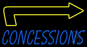 Blue Concessions With Arrow Neon Sign