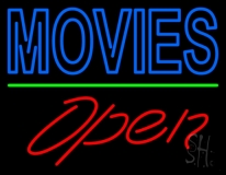 Blue Double Stroke Movies Open Neon Sign