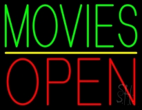Green Movies Open Neon Sign