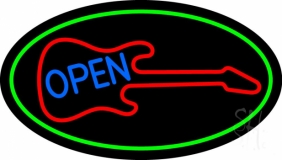 Guitar Blue Open Block 2 Neon Sign
