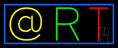 Multi Color Art Block With Blue Border Neon Sign