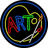 Multi Color Art With Palate With Circle Neon Sign