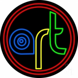 Multi Color Art With Red Circle Neon Sign