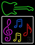 Musical Notes With Guitar Logo 2 Neon Sign