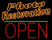 Orange Photo Restoration With Open 1 Neon Sign