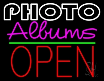 Photo Albums With Open 1 Neon Sign