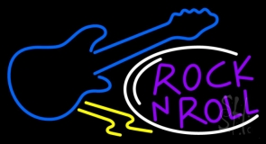 Purple Rock N Roll Guitar 1 Neon Sign