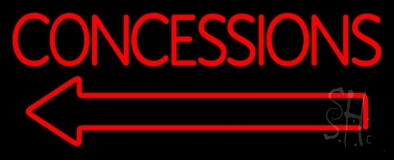 Red Concessions With Arrow Neon Sign