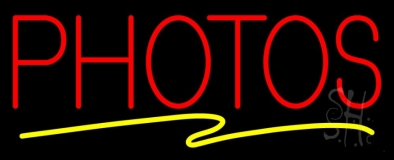 Red Photos Block With Yellow Swish Border Neon Sign