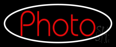 Red Photo With Oval Neon Sign