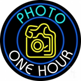 Turquoise Photo One Hour With Camera Neon Sign