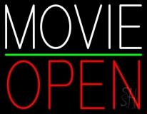 White Movie Open Neon Sign