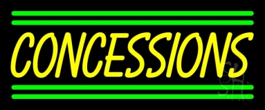Yellow Concessions Green Line Neon Sign