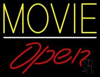 Yellow Movie Open Neon Sign