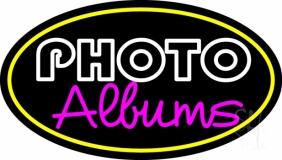 Yellow Oval Border Photo Albums Neon Sign