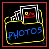 Blue Photos With Photo Icon With Red Border Neon Sign