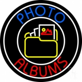 Gallery Icon With Blue Photo Album With Circle Neon Sign