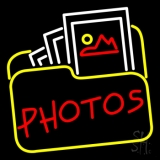 Red Photos With Photo Icon Neon Sign