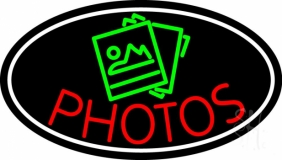 Red Photos With Yellow Oval Neon Sign