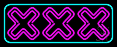 Xxx Turquoise Border LED Neon Sign