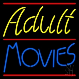 Yellow Adult Blue Movies LED Neon Sign