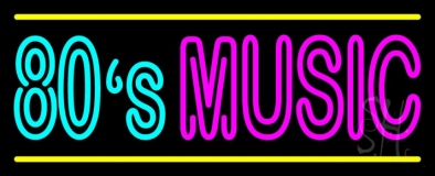 80s Music With Line Neon Sign