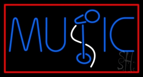 Blue Music Mike Neon Sign